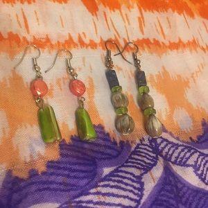 Jewelry - NWOT 2 Pairs Plastic Bead Earrings